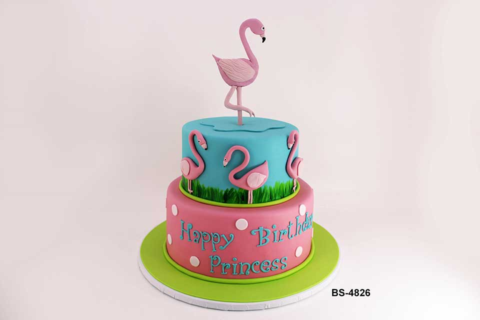 Sensational Flamingo Birthday Cake Bs 4826 Bee Sweet Uae Best Cakes Personalised Birthday Cards Veneteletsinfo