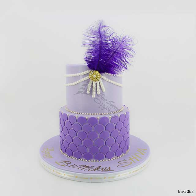 Awe Inspiring Purple Birthday Cake Bs 5063 Bee Sweet Uae Best Cakes Personalised Birthday Cards Rectzonderlifede