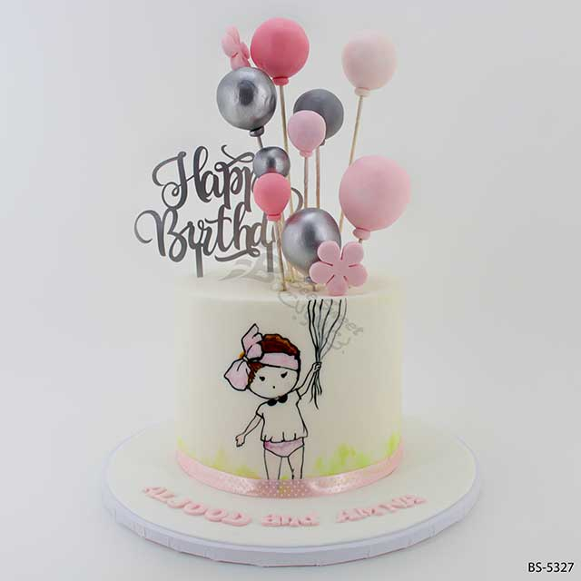 Groovy Balloons Birthday Cake Bs 5327 Bee Sweet Uae Best Cakes Funny Birthday Cards Online Elaedamsfinfo