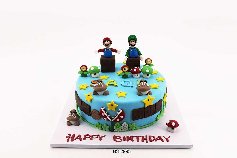 Stupendous Super Mario Birthday Cake Bs 2993 Bee Sweet Uae Best Cakes Personalised Birthday Cards Veneteletsinfo