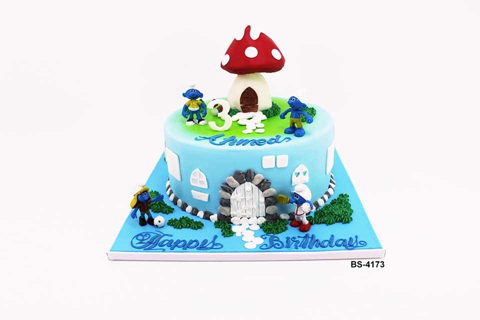 Fantastic Smurfs Cake Bs 4173 Bee Sweet Uae Birthday Cakes Funny Birthday Cards Online Overcheapnameinfo