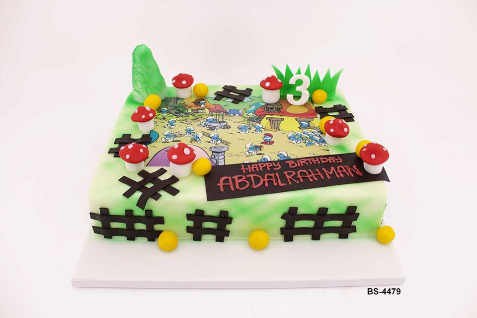 Incredible Smurfs Cake Bs 4479 Bee Sweet Uae Birthday Cakes Funny Birthday Cards Online Overcheapnameinfo