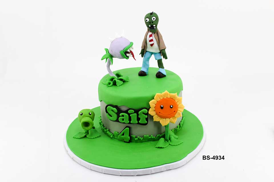 Astonishing Plants Vs Zombies Cake Bs 4934 Kids Birthday Cake Bee Sweet Uae Funny Birthday Cards Online Overcheapnameinfo