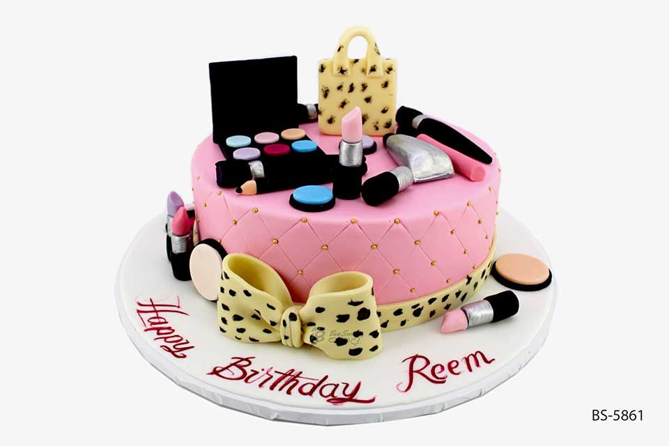Pleasant Makeup Theme Cakes Bs 5804 Order Online Bee Sweet Uae Funny Birthday Cards Online Overcheapnameinfo