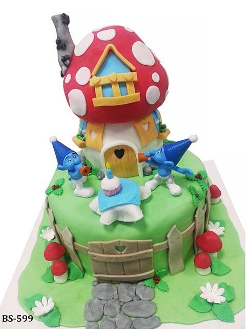 Terrific Smurfs Cake Bs 599 Bee Sweet Uae Adorable Smurfs Cake Funny Birthday Cards Online Overcheapnameinfo